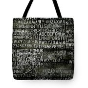 Letters And Numbers Grey On Black Tote Bag