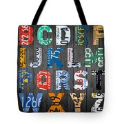 Letters Of The Alphabet Recycled Vintage License Plate Art With Apple Colorful School Nursery Kids Room Print Tote Bag