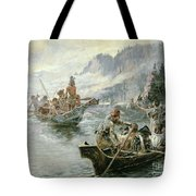 Lewis And Clark On The Lower Columbia River Tote Bag by Charles Marion Russell