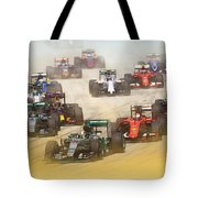 Lewis Hamilton Leads The Pack Tote Bag