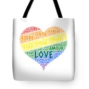 Lgbt Rainbow Hearth Flag Illustrated With Love Word Of Different Languages Tote Bag