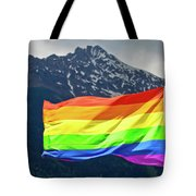 Lgbtq Rainbow Flag With Snowy Mountain Background View Tote Bag
