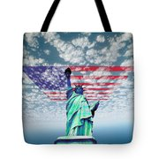 Liberty And Flag Tote Bag