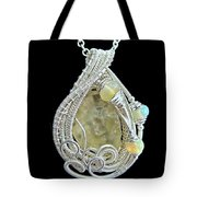 Libyan Desert Glass Meteorite Impactite Pendant In Sterling Silver With Ethiopian Opals Ldgpss11 Tote Bag