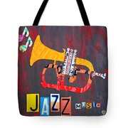 License Plate Art Jazz Series Number One Trumpet Tote Bag