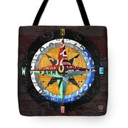 License Plate Compass North South East West Road Trip Letters On Old Red Barn Wood Tote Bag