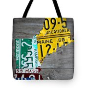 License Plate Map Of New England States Tote Bag