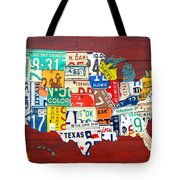 License Plate Map Of The United States - Midsize Tote Bag