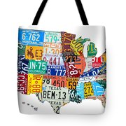 License Plate Map Of The United States Outlined Tote Bag by Design Turnpike