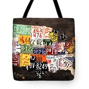 License Plate Map Of The United States - Warm Colors / Black Edition Tote Bag