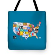 License Plate Map Of The Usa On Royal Blue Tote Bag