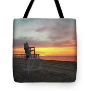 Lifeguard Stand On The Beach At Sunrise Tote Bag