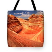 Light And Dark At The Wave Tote Bag