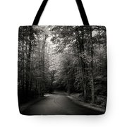 Light And Shadow On A Mountain Road In Black And White Tote Bag
