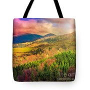 Light  Beam Falls On Hillside With Autumn Forest In Mountain Tote Bag