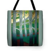 Light Between The Trees Tote Bag by Jarle Rosseland