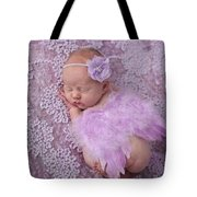 Light Lavender Feather Wings With Flower Headband Tote Bag