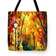 Light Of The Forest - Palette Knife Oil Painting On Canvas By Leonid Afremov Tote Bag
