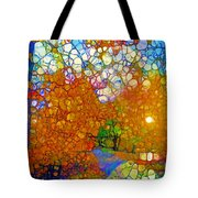 Light On The Autumn Path Tote Bag