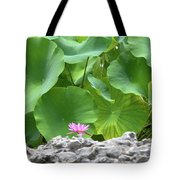 Light Purple Water Lily And Large Green Leaves Tote Bag