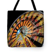 Light Streaks From The Spinning Ferris Wheel And Swing At Night  Tote Bag