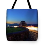 Light Trails Around Vista House On Crown Point Tote Bag