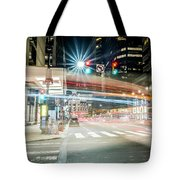 Light Trails On 17th And Market Tote Bag