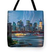 Lightening Striking Manhattan Tote Bag
