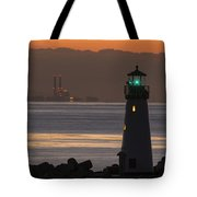 Lighthouse And Power Plant At Dawn Tote Bag