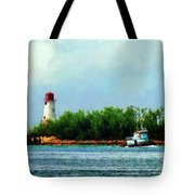 Lighthouse And Boat Nassau Bahamas Tote Bag