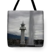 Lighthouse And Fountain Tote Bag