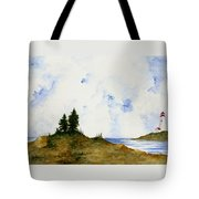 Lighthouse And Pine Trees Tote Bag