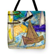 Lighthouse And Sailboats Tote Bag