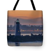 Lighthouse And Wharf At Dusk Tote Bag