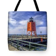Lighthouse At Charlevoix South Pier  Tote Bag