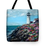 Lighthouse At Flower Point Tote Bag by Jack Skinner
