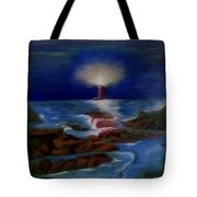 Lighthouse At Night Tote Bag