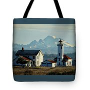 Lighthouse Before Mountain Tote Bag