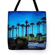 Lighthouse, Blue Lb Tote Bag