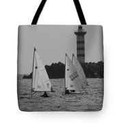 Lighthouse Boats Tote Bag