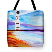 Lighthouse By The Sea Tote Bag