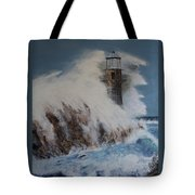 Lighthouse In A Storm Tote Bag by David Hawkes