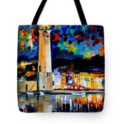 Lighthouse In Crete - Palette Knife Oil Painting On Canvas By Leonid Afremov Tote Bag
