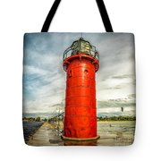 Lighthouse In South Haven Tote Bag