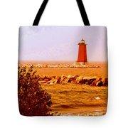 Lighthouse Manistique Retro Pano Tote Bag