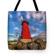 Lighthouse Manistique Sunset -5350 Tote Bag