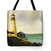 Lighthouse In Oil Tote Bag