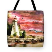 Lighthouse, Ocean, Sunset Tote Bag