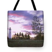 Lighthouse On A Landscape, Tawas Point Tote Bag