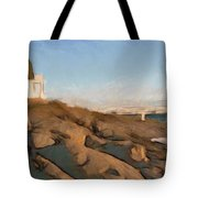 Lighthouse On The Ocean Tote Bag